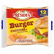 Président 12 tranches burger'cheddar et emmental 200g