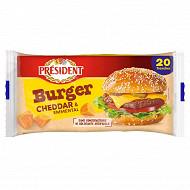 Président 20 tranches burger cheddar emmental 340 g