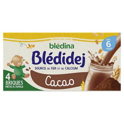 Blédina Blédina blédidej brique de lait et céréales saveur cacao 4x250ml dès 6 mois