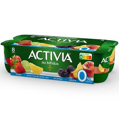 Danone Danone Activia 0% lait fermenté au bifidus fraise citron pruneau et pêche 8x125 g