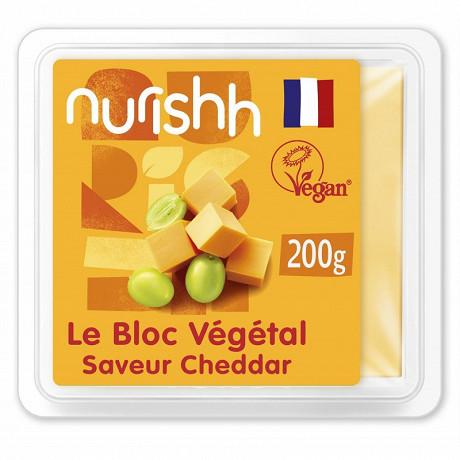 Nurishh bloc végétal saveur cheddar - végan - sans lactose - bloc 200g