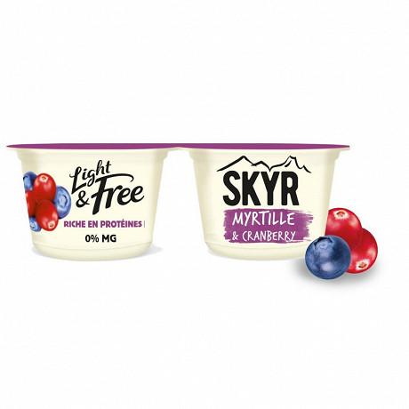 Light & Free skyr sur lit de myrtille cranberry 2x145g