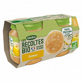 Blédina les récoltes bio pommes petits morceaux dés 8 mois 2x130g