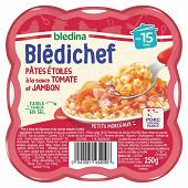 Bledina blédichef pâtes étoiles à la sauce tomate et jambon dès 15 mois 250g