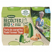 Bledina les récoltes bio purée de courgettes poulet fermier thym dès 6 mois 2x200g