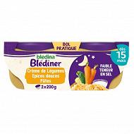 Blediner crème de légules aux epices douces et coquillettes 2x200g