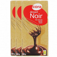 Cora chocolat noir dessert 52% 3 X 200G