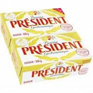 Président beurre plaquette gastronomique doux 2x250g 82%mg