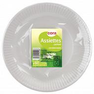 Cora assiettes carton x50 blanche diam 23cm