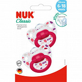 2 sucettes silicone 6-18 mois fille rose ballons Nuk