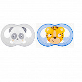 2 sucettes silicone taille 18 mois ourson chat Tigex