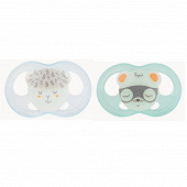 2 Sucettes soft touch phosphoréscentes silicone taille + 18 mois Tigex