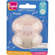 2 sucettes silicone taille 6-18 mois biche chat Tigex