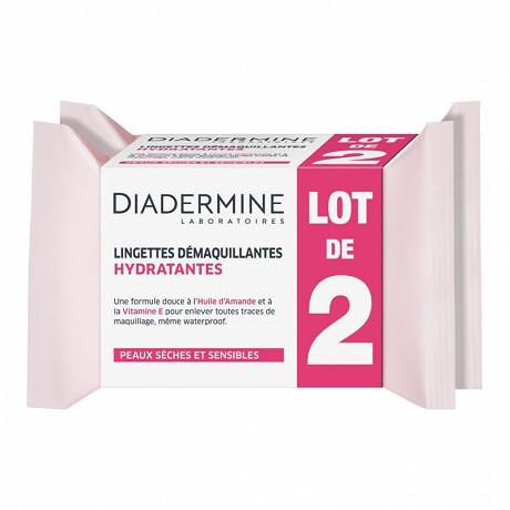 Diadermine lingettes demaquillantes hydratantes lot de 2