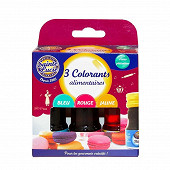 Sainte Lucie Assortiment de 3 colorants alimentaires  R.V.J. 3 flacons 12 ml
