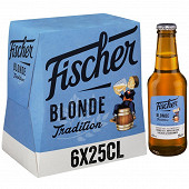 Fischer tradition bière blonde d'Alsace 6x25cl 6%vol