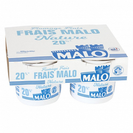 Malo fromage frais nature 20% MG 4 x 100g