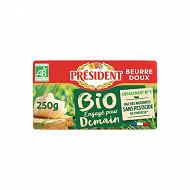 Président beurre bio doux plaquette 250g