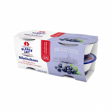 Alsace Lait bibeleskaes fromage blanc sur lit de myrtilles 6.2%mg 4x125g