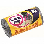 Handy Bag sacs poubelle x10 fixation élastique 50l