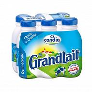 Grandlait demi écrémé lait collecté dans des fermes sélectionnées bouteille 6x50cl
