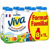 Viva lait uht vitaminé à 1.2% de M.G bouteille 8x1l format familial
