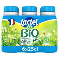Lactel bio 1/2 écreme bouteille 6x25cl