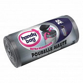 Handy Bag sacs poubelle x10 fixation élastique special poubelle haute 50l