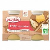 Babybio  pot poire sans gluten dès 4 mois 2x130g