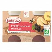Babybio pot pomme myrtille sans gluten dès 4 mois 2x130g