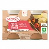 Babybio pot pomme abricot céréale sans gluten dès 4 mois 2x130g