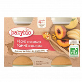 Babybio pêche pomme sans gluten dès 4 mois 2x130g