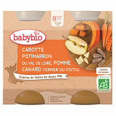 Babybio menu légumes carotte potimarron pomme canard sans gluten dès 8 mois 2x200g