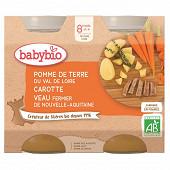 Babybio pot légumes pomme de terre carotte veau sans gluten dès 8 mois 2x200g