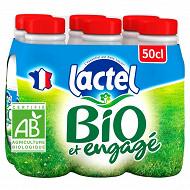 Lactel lait bio entier bouteille 6x50cl