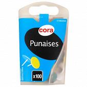 Cora punaises couleurs 10mm  X100 boite distributrice