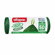 Alfapac sacs poubelle x10 coulissac 50l végétal origin