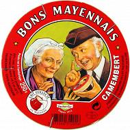Bons Mayennais camembert au lait pasteurisé de vache 22%mg 250g