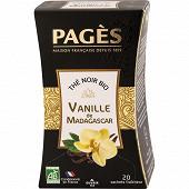 Pagès thé noir bio vanille de Madagascar x20s 36g