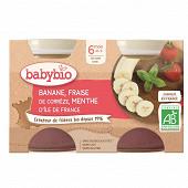 Babybio compote banane fraise menthe sans gluten 6 mois 2x130g