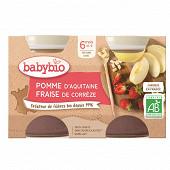 Babybio compote pomme fraise 6 mois sans gluten  2 x 130g