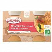 Babybio pot mirabelle pomme bio - sans gluten 4 mois 2x130g