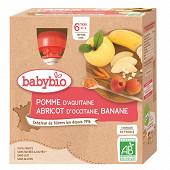 Babybio mes fruits gourde pomme abricot banane sans gluten dès 6 mois 4x90g