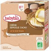 Babybio gourde crème cacao semoule 8 mois 4x85g