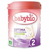 Babybio lait poudre 2ème âge optima 6 à 12 mois 800g