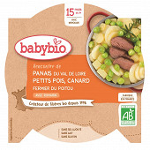 Babybio assiette panais petit pois canard orange 15 mois 260g