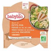 Babybio assiette petits pois panais veau macaroni 12mois 230g