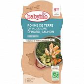 Babybio menu bols épinards saumon sans gluten 400g 8 mois 2x200g