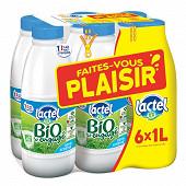 """Lactel bio demi écrémé bouteille 6x1l """"faites vous plaisir avec Lactel"""""""