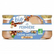 La Fermière crème dessert praline bio 2x125g